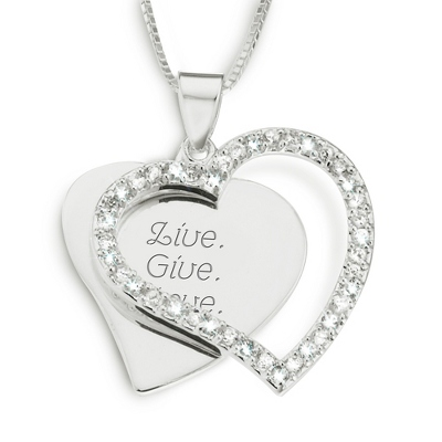 Sterling Silver CZ Heart Necklace with complimentary Filigree Keepsake Box