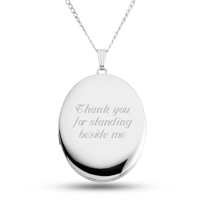 Sterling Silver 28mm Oval Locket with complimentary Filigree Keepsake Box - Sterling Silver Necklaces