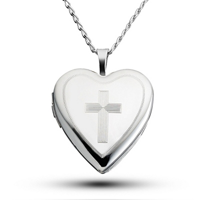 Girl Silver Cross in Heart Necklace