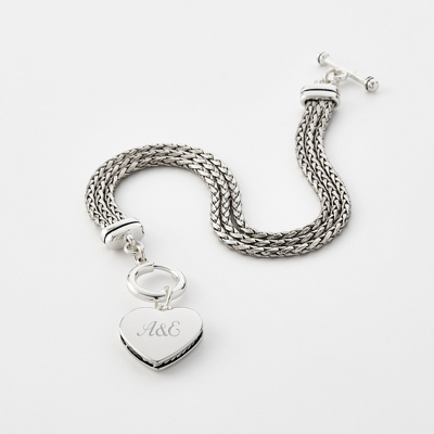 Braided Heart Bracelet with complimentary Filigree Keepsake Box - Fashion Bracelets & Bangles