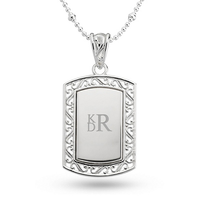 Filigree Dog Tag Necklace with complimentary Filigree Keepsake Box - $19.99