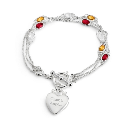 Multi Strand Birthstone Bracelet- 3 Strand with complimentary Filigree Keepsake Box - UPC 825008281141
