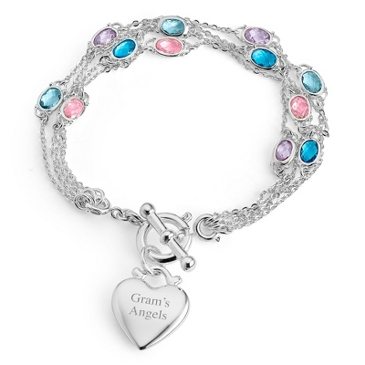 Multi Strand Birthstone Bracelet- 4 Strand with complimentary Filigree Keepsake Box - UPC 825008281158