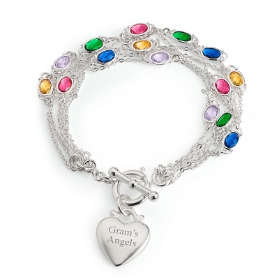 Multi Strand Birthstone Bracelet- 5 Strand with complimentary Filigree Keepsake Box - $74.99