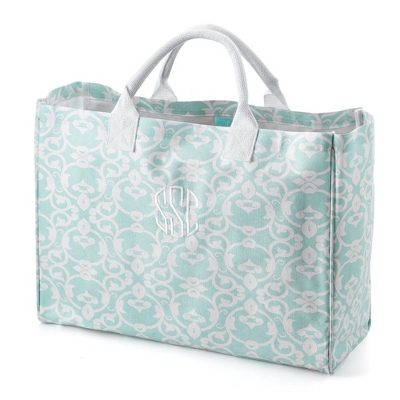 Blue and White Damask Tote