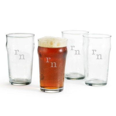 Set of Four British Pint Glasses with Engraved Monogram
