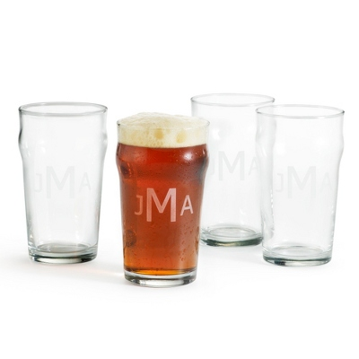 Set of Four British Pint Glasses with Etched Monogram