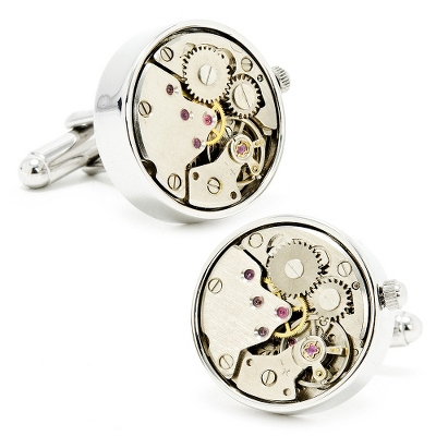 Silver Watch Movement Cuff Links with complimentary Weave Texture Valet Box