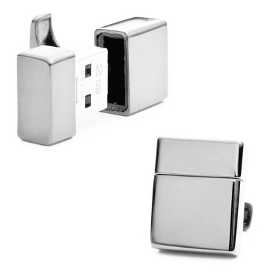 2GB USB Silver Cuff Links with complimentary Weave Texture Valet Box