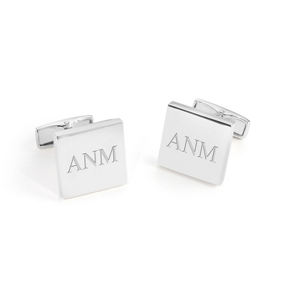 Sterling Silver Square Cuff Links with complimentary Weave Texture Valet Box - $250.00