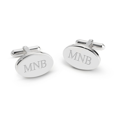 Sterling Silver Oval Cuff Links with complimentary Weave Texture Valet Box