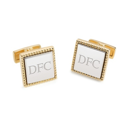 Sterling Silver Two Tone Cuff Links with complimentary Weave Texture Valet Box