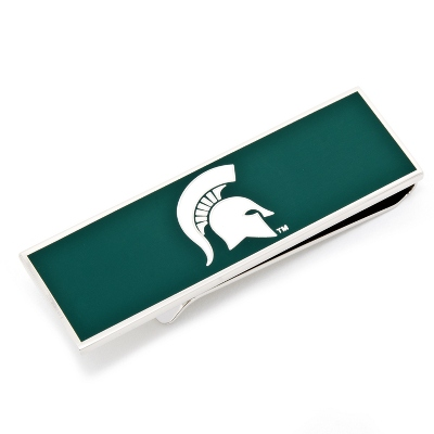 Michigan State University Money Clip with complimentary Weave Texture Valet Box