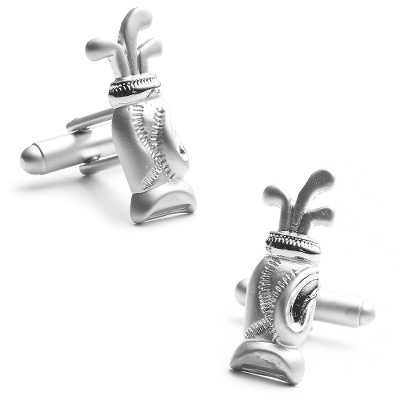Golf Bag Cuff Links with complimentary Weave Texture Valet Box - UPC 825008285637