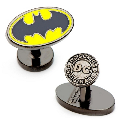 Classic Batman Cuff Links with complimentary Weave Texture Valet Box - Men's Jewelry