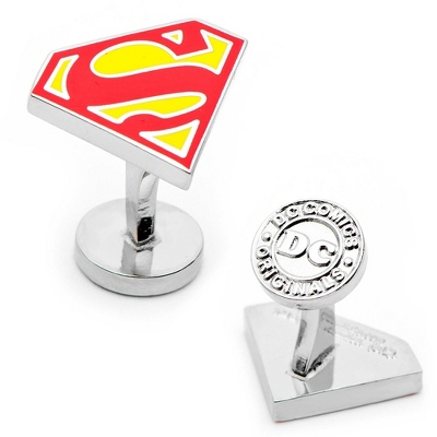 Superman Shield Cuff Links with complimentary Weave Texture Valet Box - Men's Jewelry