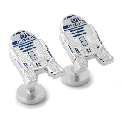 R2D2 Cuff Links with complimentary Weave Texture Valet Box