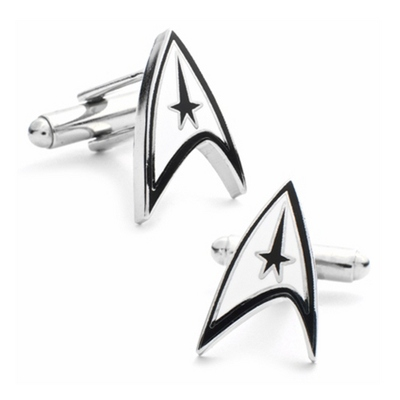 Star Trek Delta Shield Cuff Links with complimentary Weave Texture Valet Box