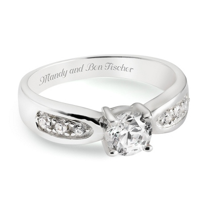 Sterling Silver CZ Engagement Ring with complimentary Filigree Keepsake Box - $85.00