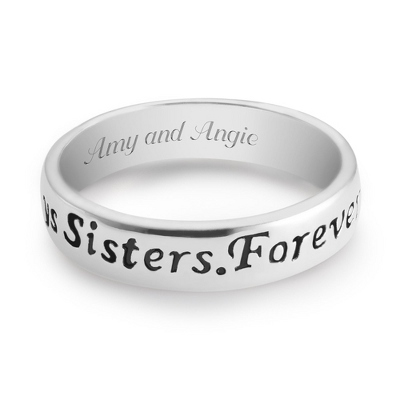Sterling Silver Sisters Ring with complimentary Filigree Keepsake Box - UPC 825008286801