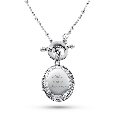 Expressions Oval CZ Locket with complimentary Filigree Oval Box