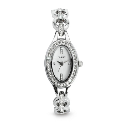 Crystal Oval Watch with complimentary Filigree Heart Box