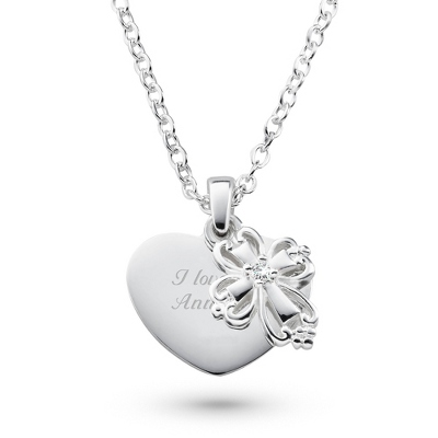 Girls Heart and Cross Necklace with complimentary Filigree Heart Box - $40.00