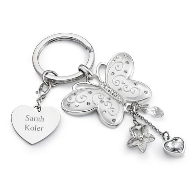 Pave Butterfly Key Chain - Purse Accessories