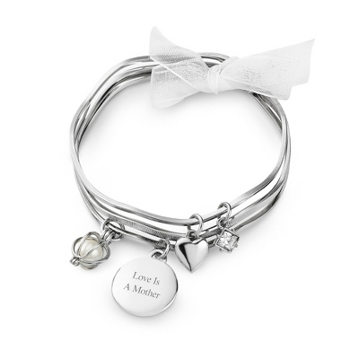 Heart Bangle Set with complimentary Filigree Oval Box