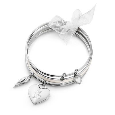 Cream Enamel & Silver Bangle Set with complimentary Classic Beveled Edge Round Keepsake Box