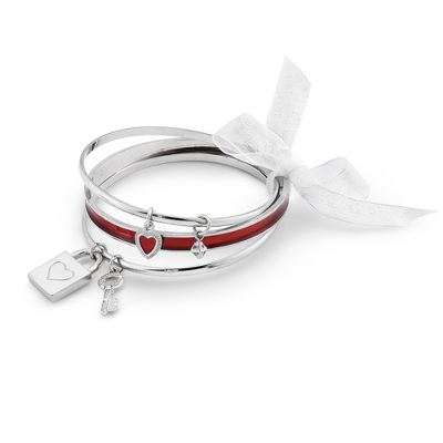 Red Bangle Set with complimentary Classic Beveled Edge Round Keepsake Box