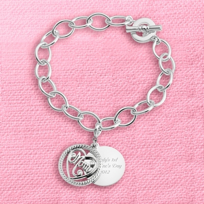 Mom Coin Charm Bracelet with complimentary Filigree Keepsake Box
