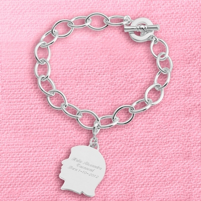 Girl's Silhouette Charm Bracelet with complimentary Filigree Keepsake Box - $40.00