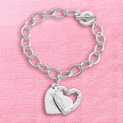 Pave Swing Heart Charm Bracelet with complimentary Filigree Keepsake Box