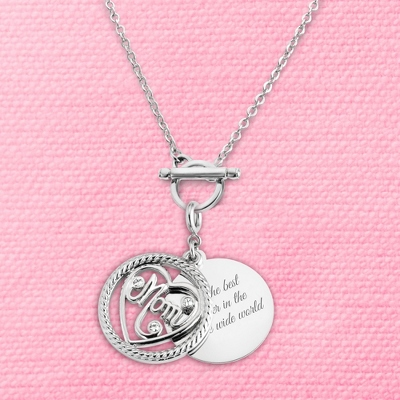 Mom Coin Charm Toggle Necklace with complimentary Filigree Keepsake Box
