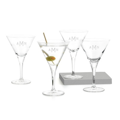 Set of 4 Martini Glasses with Monogram