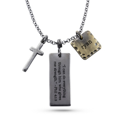 Engravable Cross Dog Tag for Men