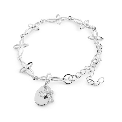 Girls Stainless Cross Bracelet with complimentary Filigree Heart Box