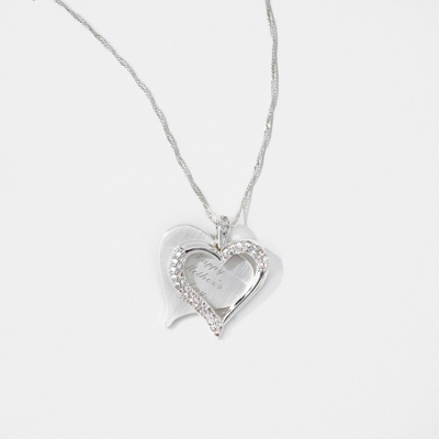 Brushed Heart Necklace with complimentary Filigree Heart Box - Bridal Jewelry