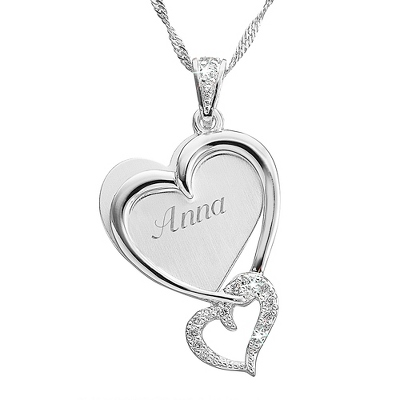 Double Heart Pave Necklace with complimentary Filigree Heart Box - Couple's Gifts