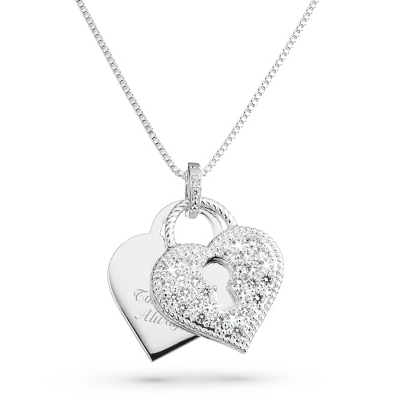CZ Heart Padlock Necklace with complimentary Filigree Heart Box
