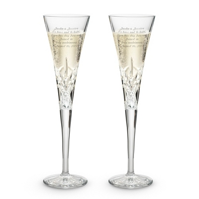 Isabella Crystal Toasting Flute Set - Elegant Wedding