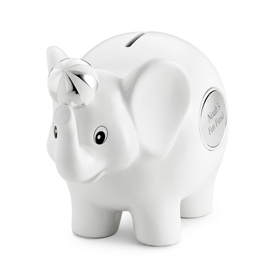 White Ceramic Elephant Bank - UPC 825008292246