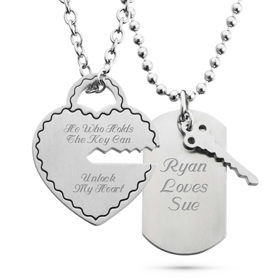 Personalized Dog Tags Necklaces for Couples