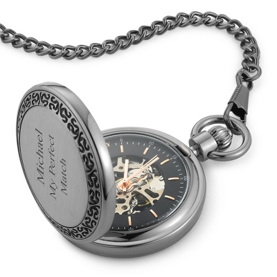 Gunmetal Skeleton Pocket Watch - Groom