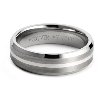 Men's Titanium and Sterling Wedding Band with complimentary Weave Texture Valet Box - UPC 825008293649
