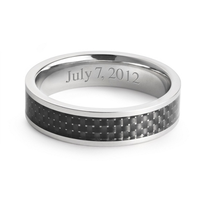 Men's Titanium and Carbon Fiber Inlay Wedding Band with complimentary Weave Texture Valet Box - $85.00