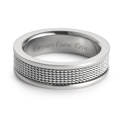 Men's Titanium Wedding Band with Mesh Inlay with complimentary Weave Texture Valet Box - $85.00