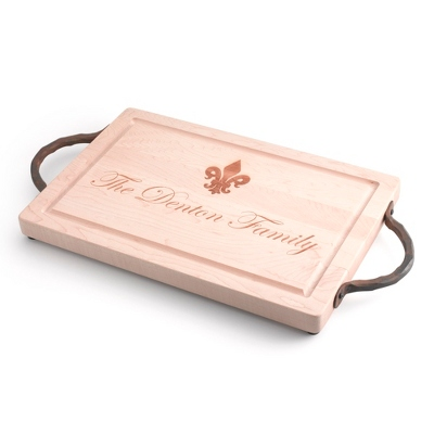 "18""X 12"" Maple Rectangle Cutting Board with Fleur de Lis - $145.00"