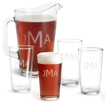 Set of Four Pint Glasses and Pitcher